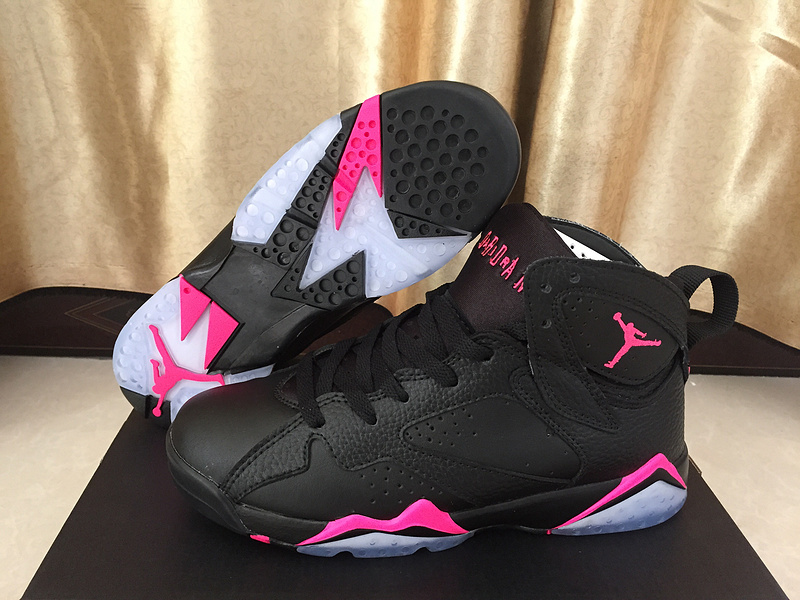 2017 Women Jordan 7 Retro Black Pink Shoes