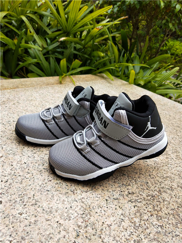 2018 Air Jordan Mesh Grey Black Shoes For Kids