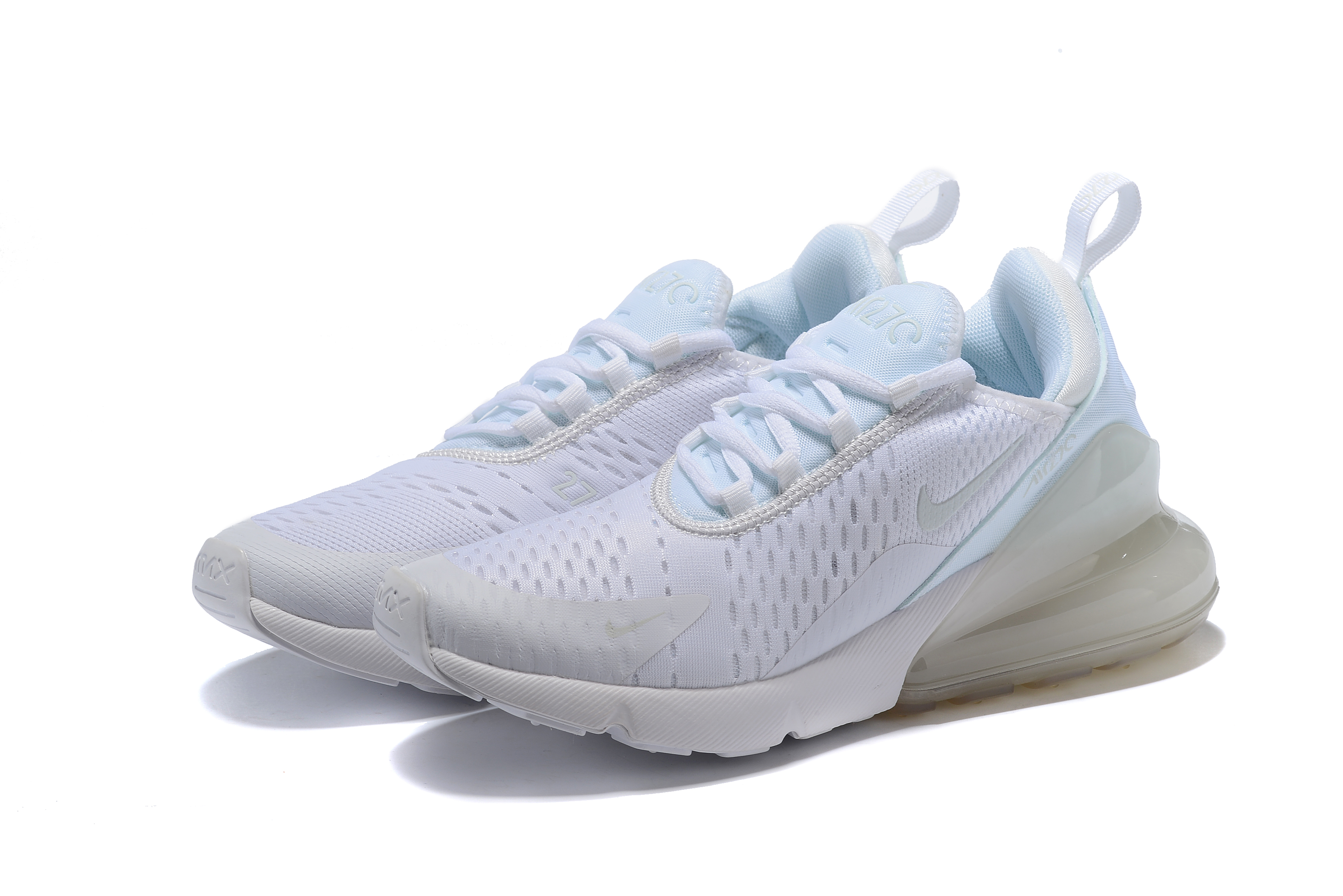 2018 Women Nike Air Max 270 Midnight All White Running Shoes