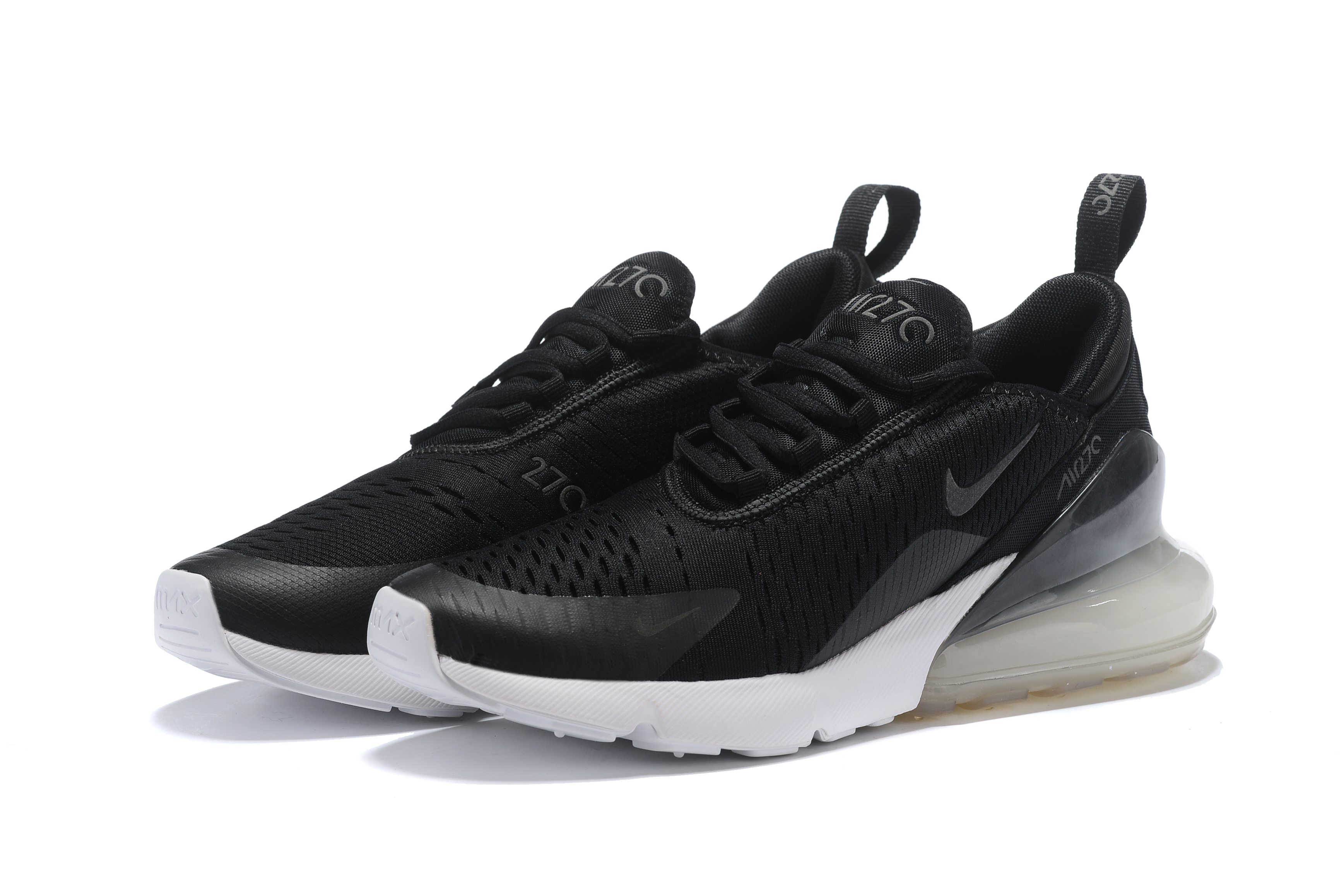 2018 Women Nike Air Max 270 Midnight Black White Running Shoes