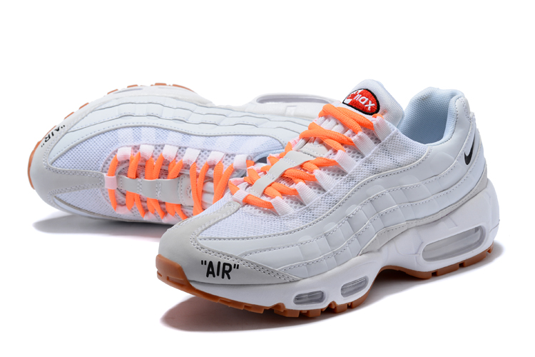 2018 Women Nike Air Max 95 White Orange Running Shoes