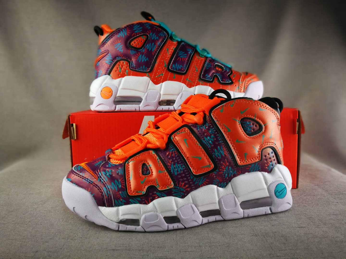2018 Nike Air More Uptempo Orange Colorful Shoes