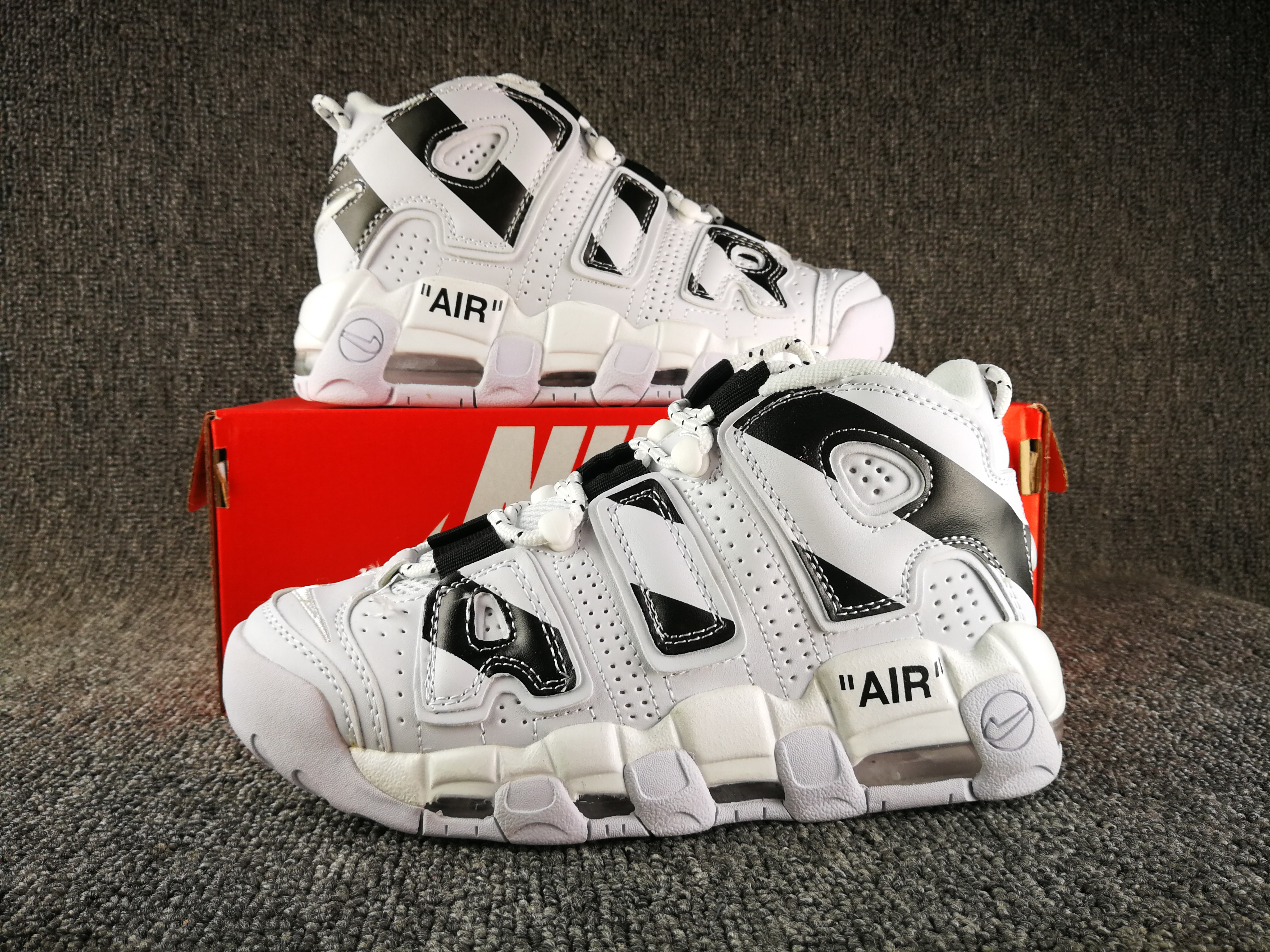 2018 Nike Air More Uptempo Silver Black Shoes