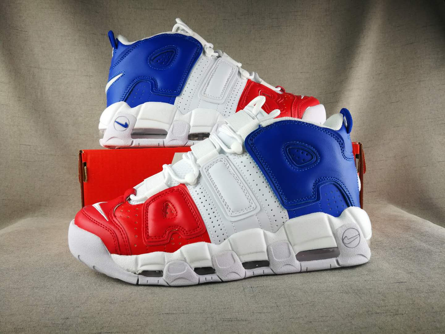 2018 Nike Air More Uptempo White Red Blue Shoes