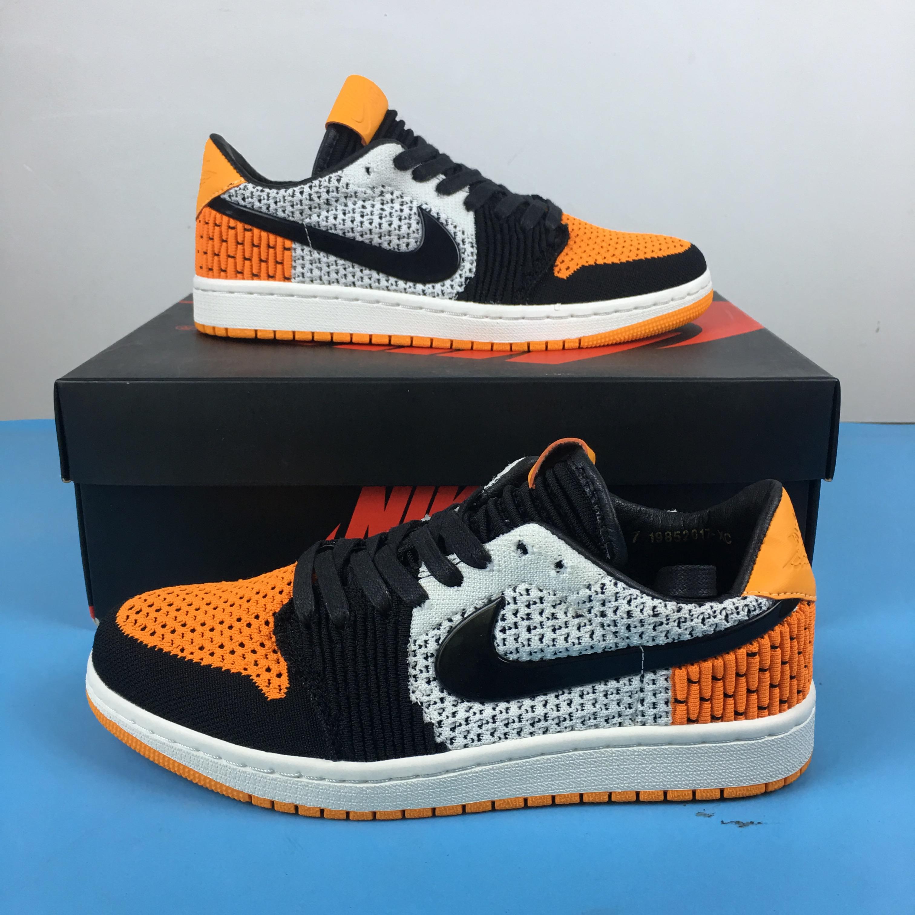 58729d5a29c83 2018 Men Air Jordan 1 Low Flyknit Orange Black White Shoes ...