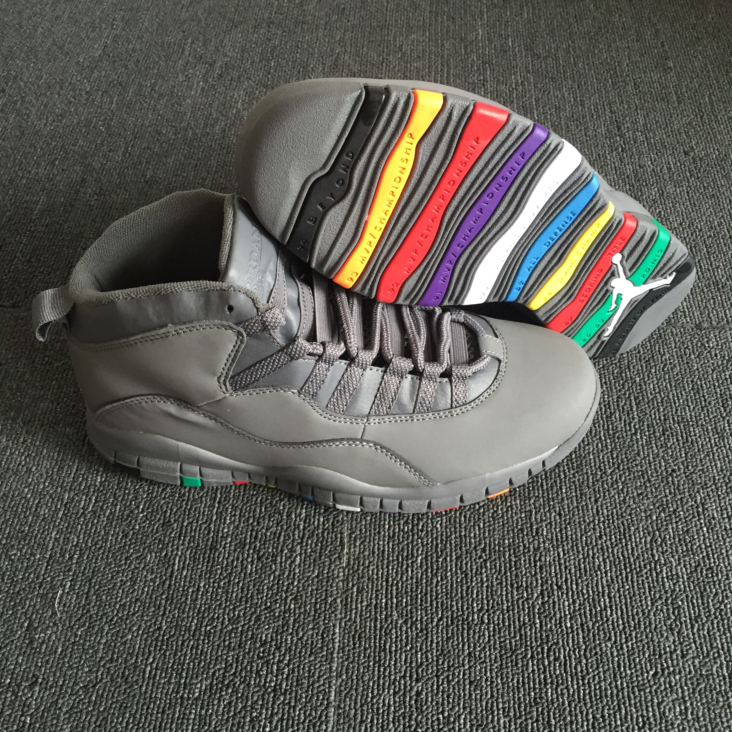 2018 Men Air Jordan 10 Grey Colorful Sole Shoes