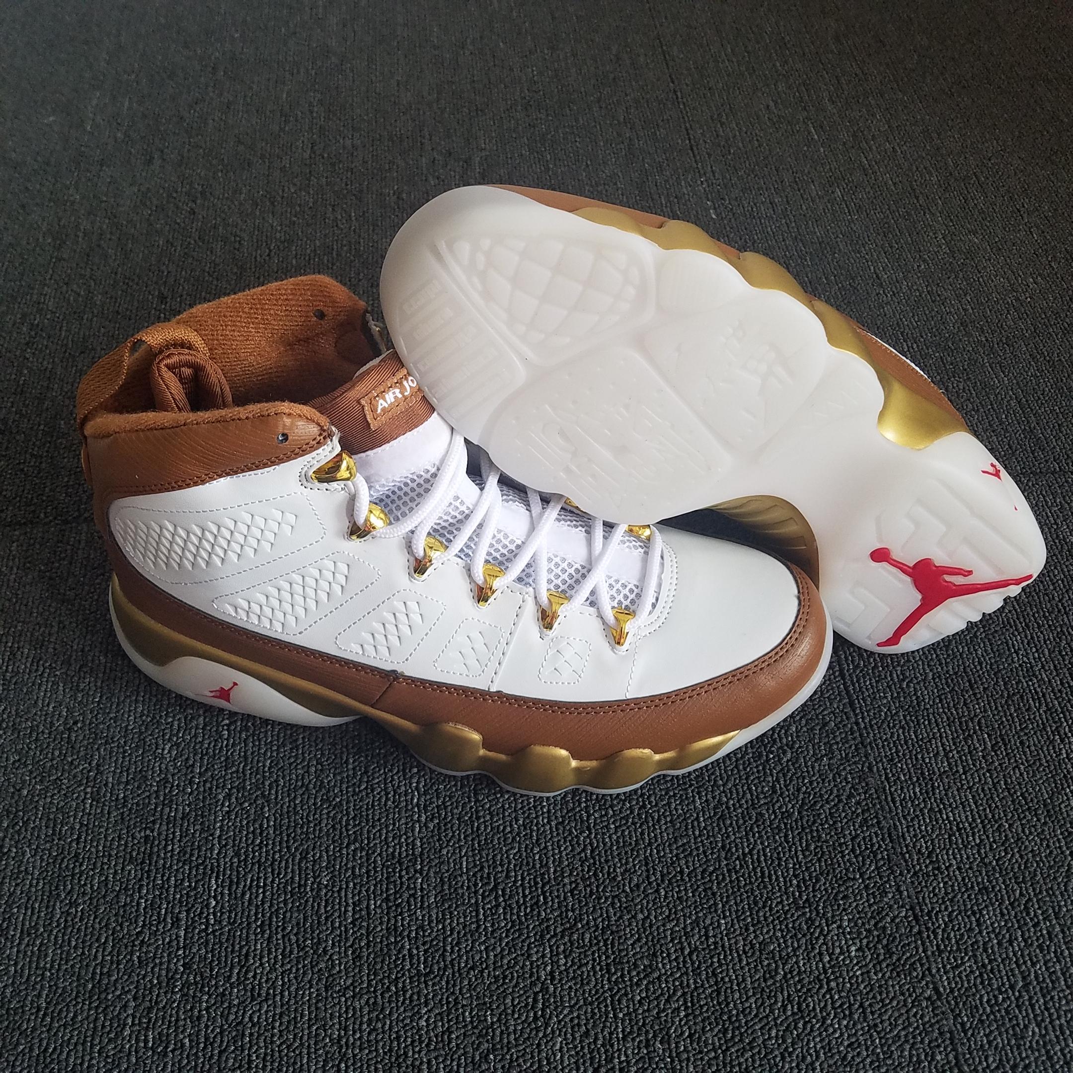 pretty nice 5339e 5b5c7 2018 Men Air Jordan 9 White Brown Gold Shoes