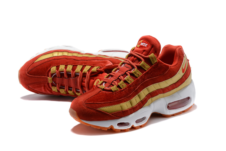 2018 Men Nike Air Max 95 Wine Red Gold Running Shoes