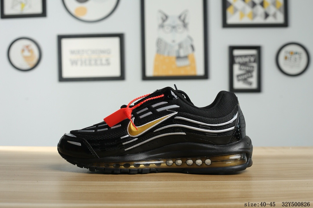 2018 Men Nike Air Max 97 Black White Gold Running Shoes