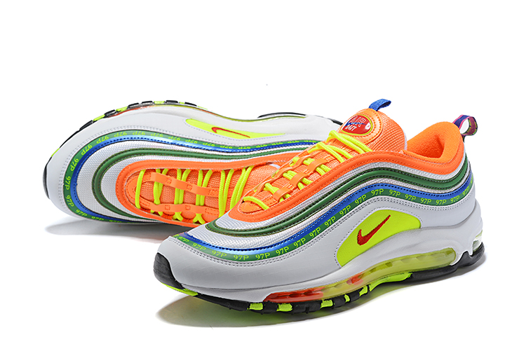 2018 Men Nike Air Max 97 Orange Green Blue White