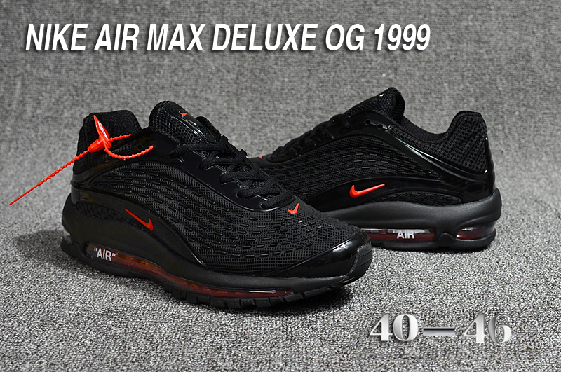 9524cfce06 2018 Men Nike Air Max Deluxe OG 1999 All Black Red Shoes