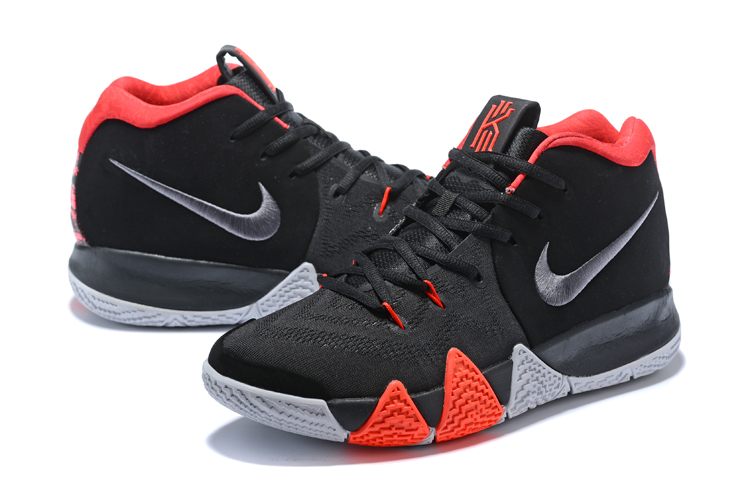 2018 Men Nike Kyrie 4 Black Red Grey Shoes