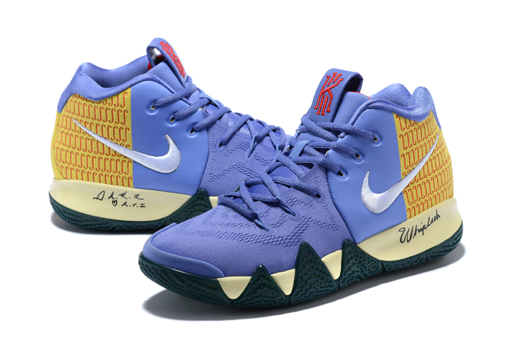 2018 Men Nike Kyrie 4 Blue Yellow Silver Shoes