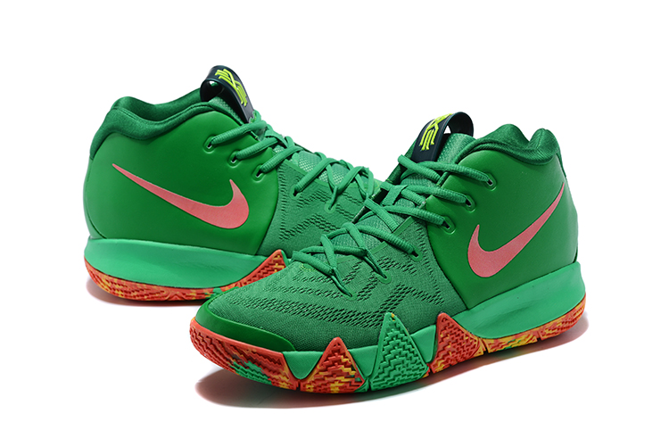 2018 Men Nike Kyrie 4 Green Pink Orange Shoes
