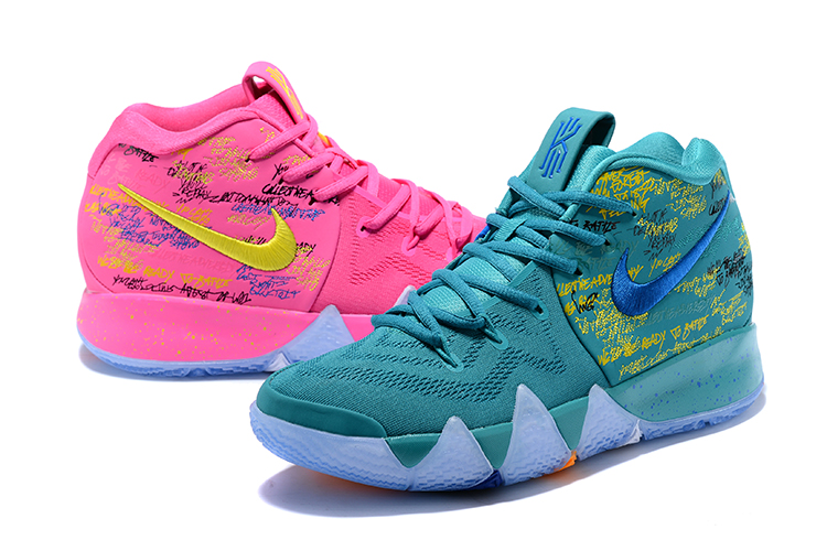 2018 Men Nike Kyrie 4 Green Pink Shoes