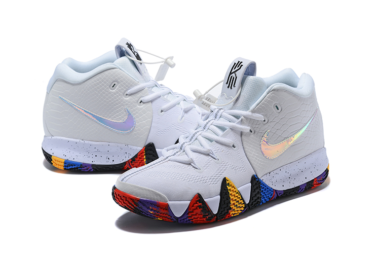 2018 Men Nike Kyrie 4 White Silver Colorful Shoes