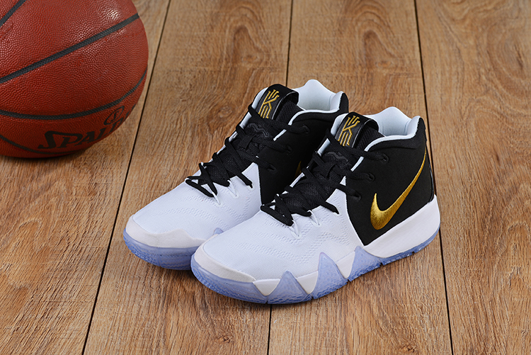 2018 Men Nike Kyrie Irving 4 White Black Gold Basketball Shoes ... f92d5d4f01