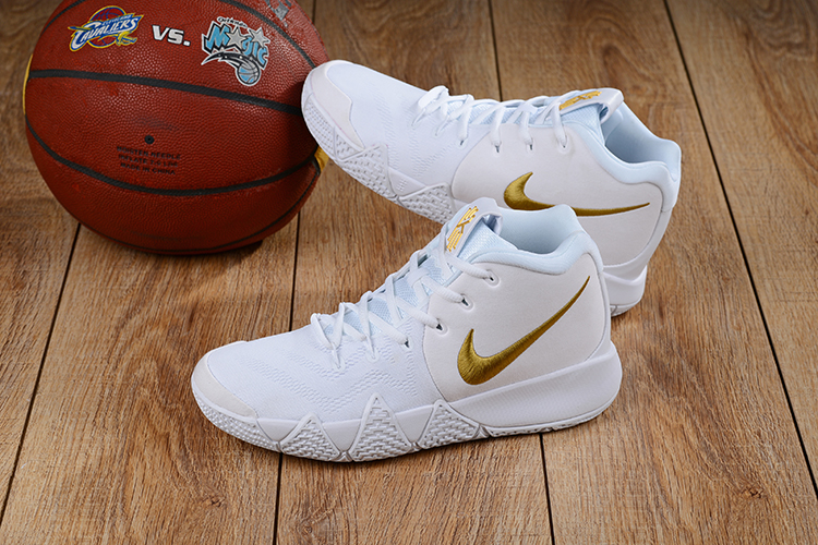 2018 Men Nike Kyrie Irving 4 White Gold Basketball Shoes ... 957e6be201