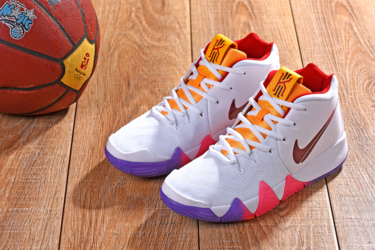 2018 Men Nike Kyrie Irving 4 White Yellow Red Purple Shoes