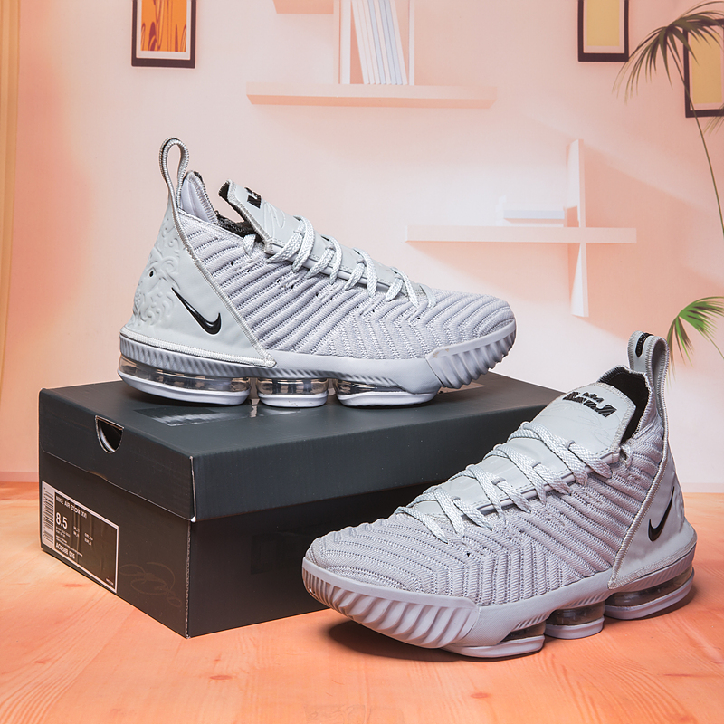 2018 Men Nike Lebron 16 Grey Black Shoes