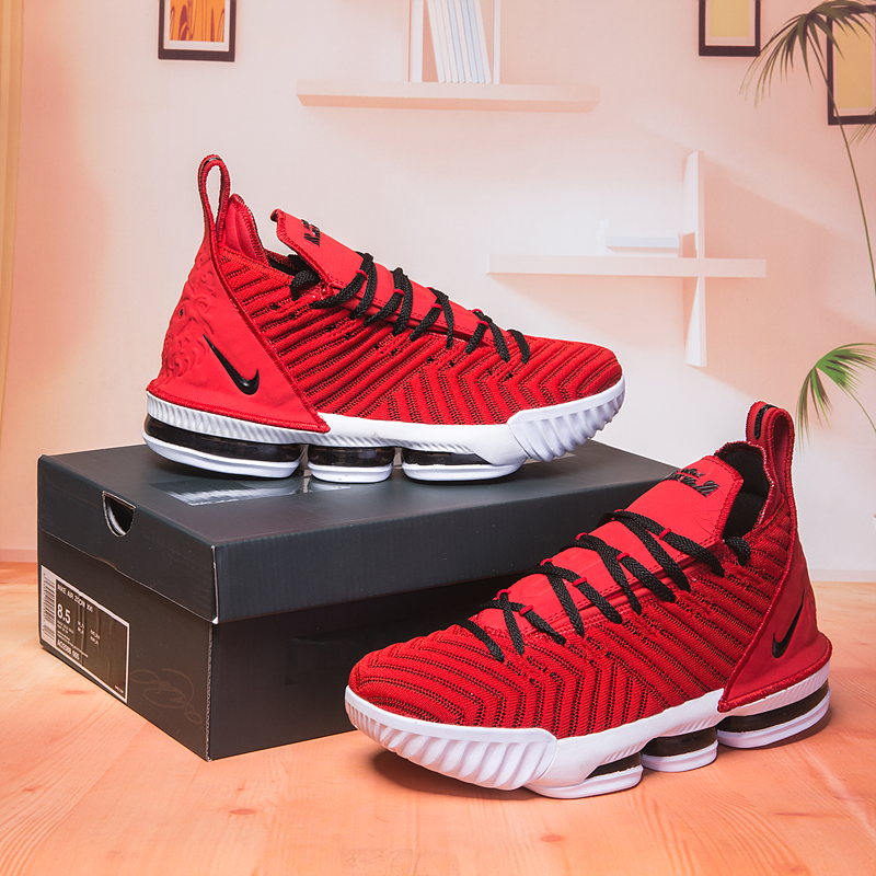 2018 Men Nike Lebron 16 Red Black White Shoes