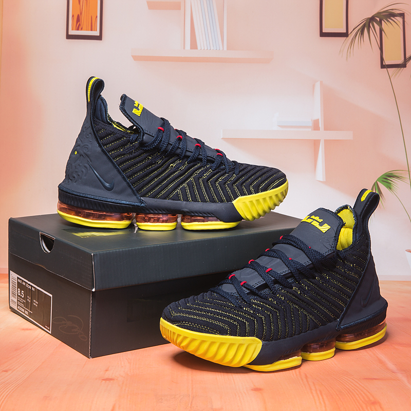 2018 Men Nike Lebron 16 Sea Blue Yellow Shoes