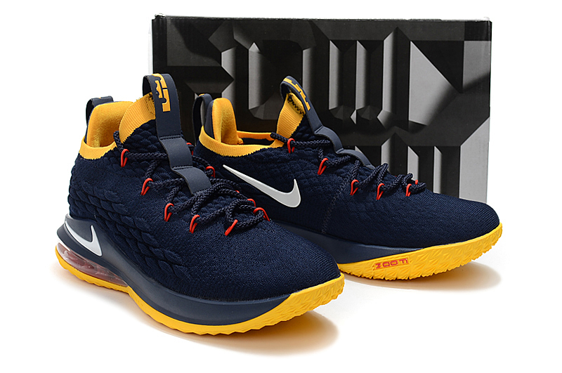 2018 Men Nike Lebron James 15 Low Deep Blue Yellow Red Shoes