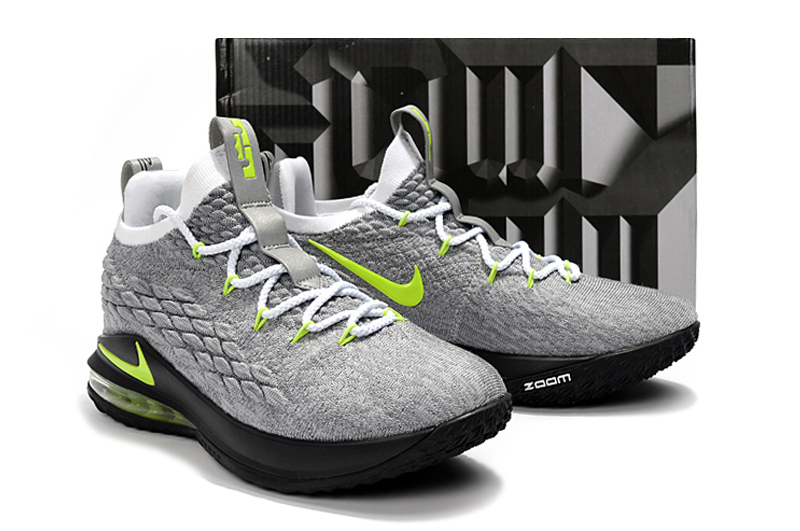 2018 Men Nike Lebron James 15 Low Grey Green Black Shoes ... 6731a3b3f1