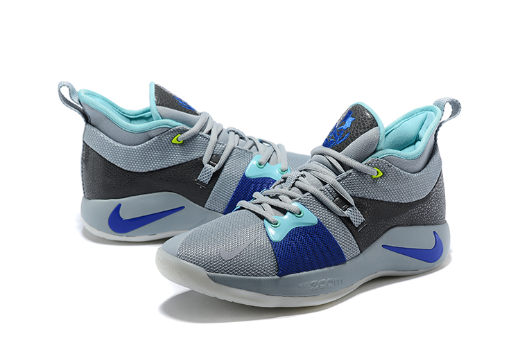 2018 Men Nike PG 2 Grey Shine Blue Black Shoes
