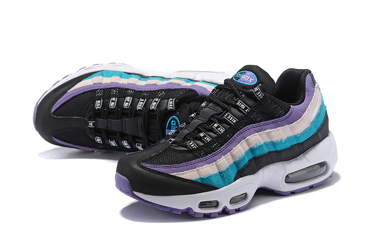 2018 Women Nike Air Max 95 Black Purple Jade Shoes