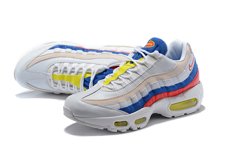2018 Women Nike Air Max 95 White Blue Red Yellow Shoes