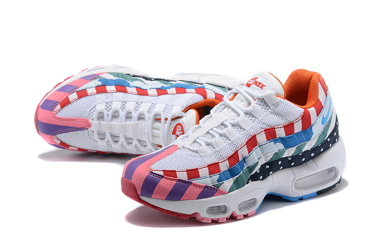 2018 Women Nike Air Max 95 White Pink Blue Shoes