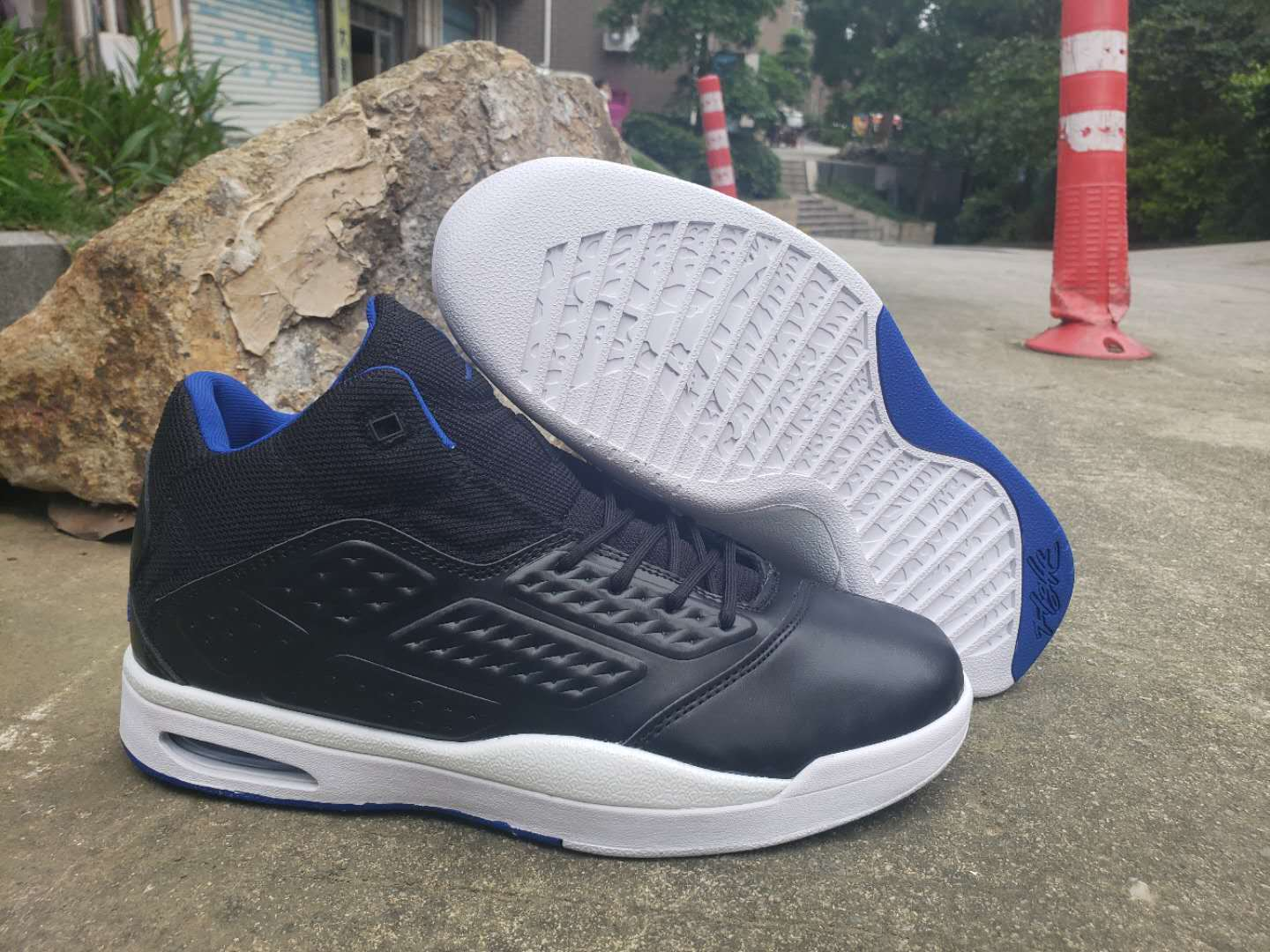 2019 Air Jordan New School Black Blue White Shoes