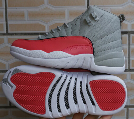 2019 Women Jordan 12 Retro Grey Red White Shoes