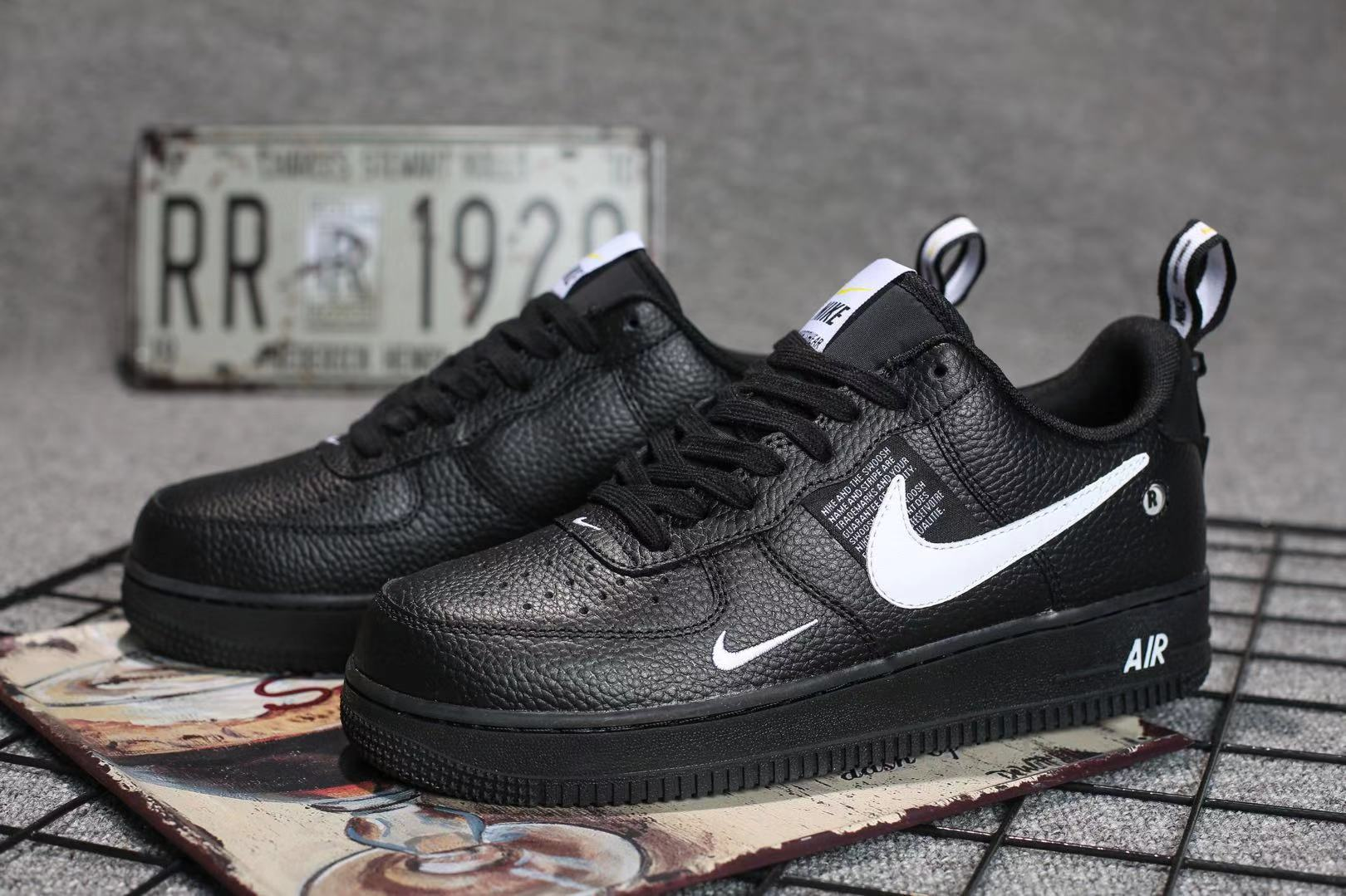 2019 Nike Air Force 1 '07 LV8 Utility Black White Shoes For Women