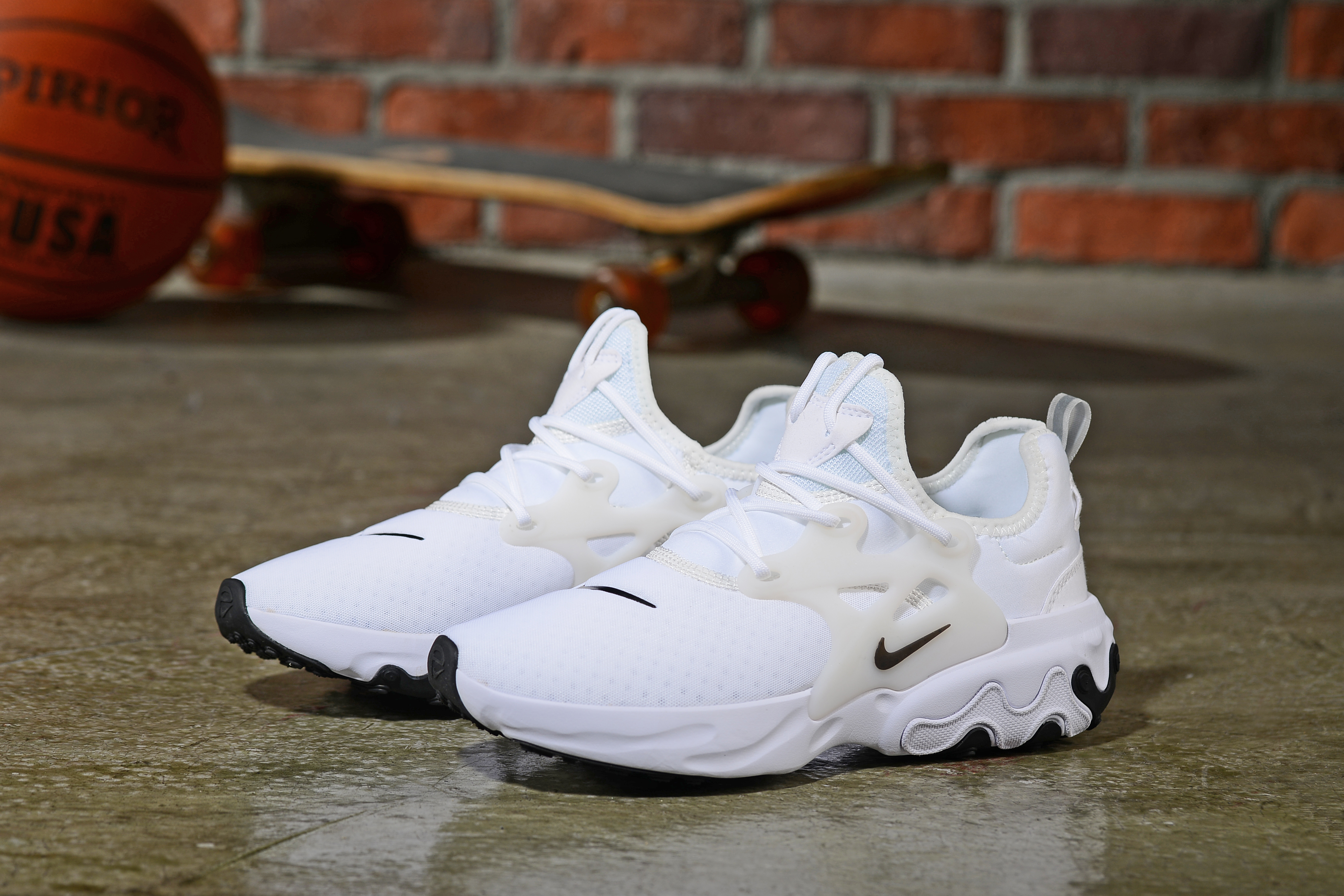 2019 Women Nike Epeic React White Black Shoes