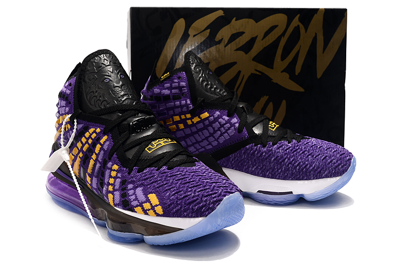 2019 Women Nike Lebron James 17 Purple Yellow Black Shoes