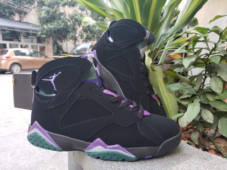 cbcfb4034ae6a1 2019 Men Air Jordan 7 Retro Black Purple Green Shoes