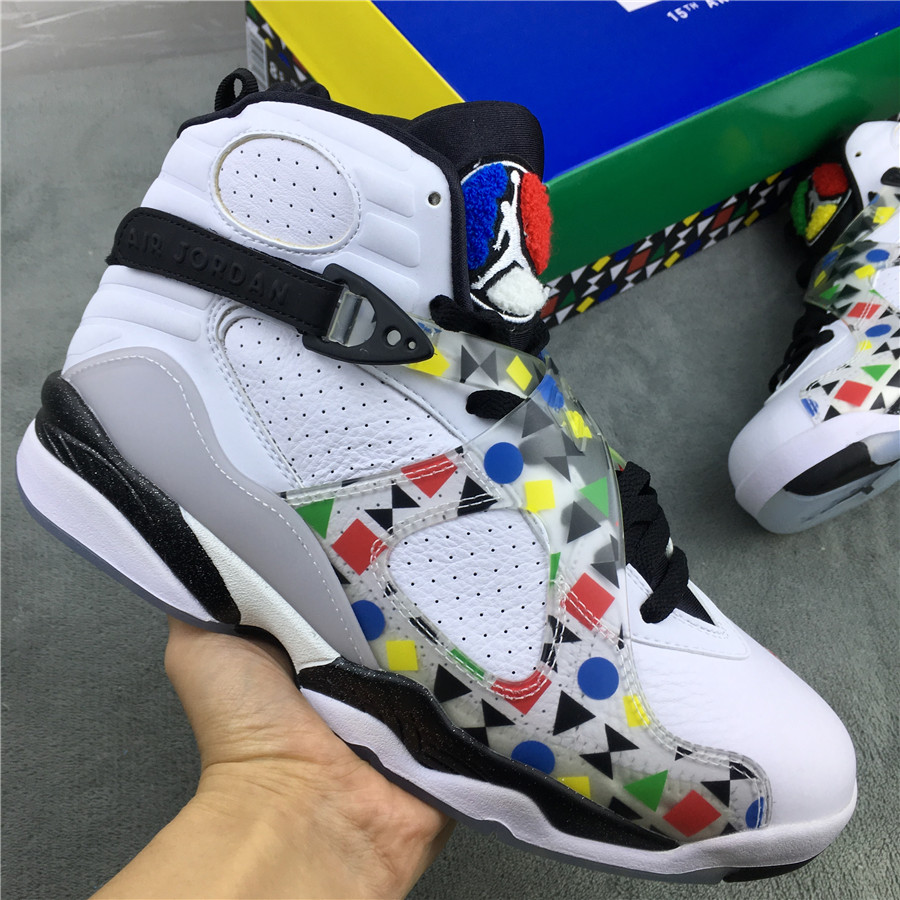 2019 Men Air Jordan 8 Quai54 White Colorful Shoes
