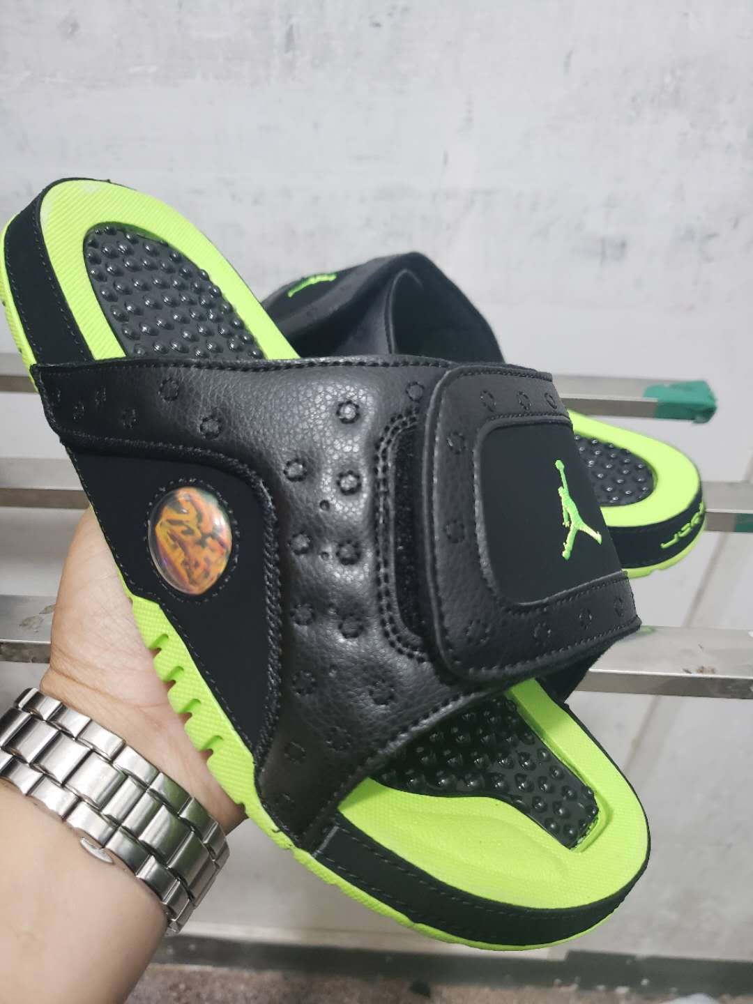 2019 Men Jordan 13 Hydro Slide Black Green