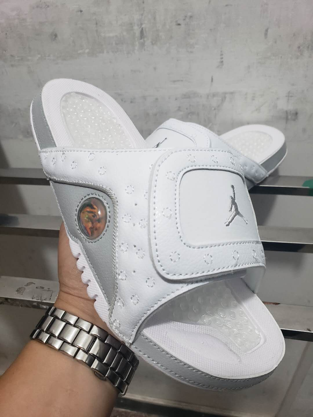 2019 Men Jordan 13 Hydro Slide Pure White