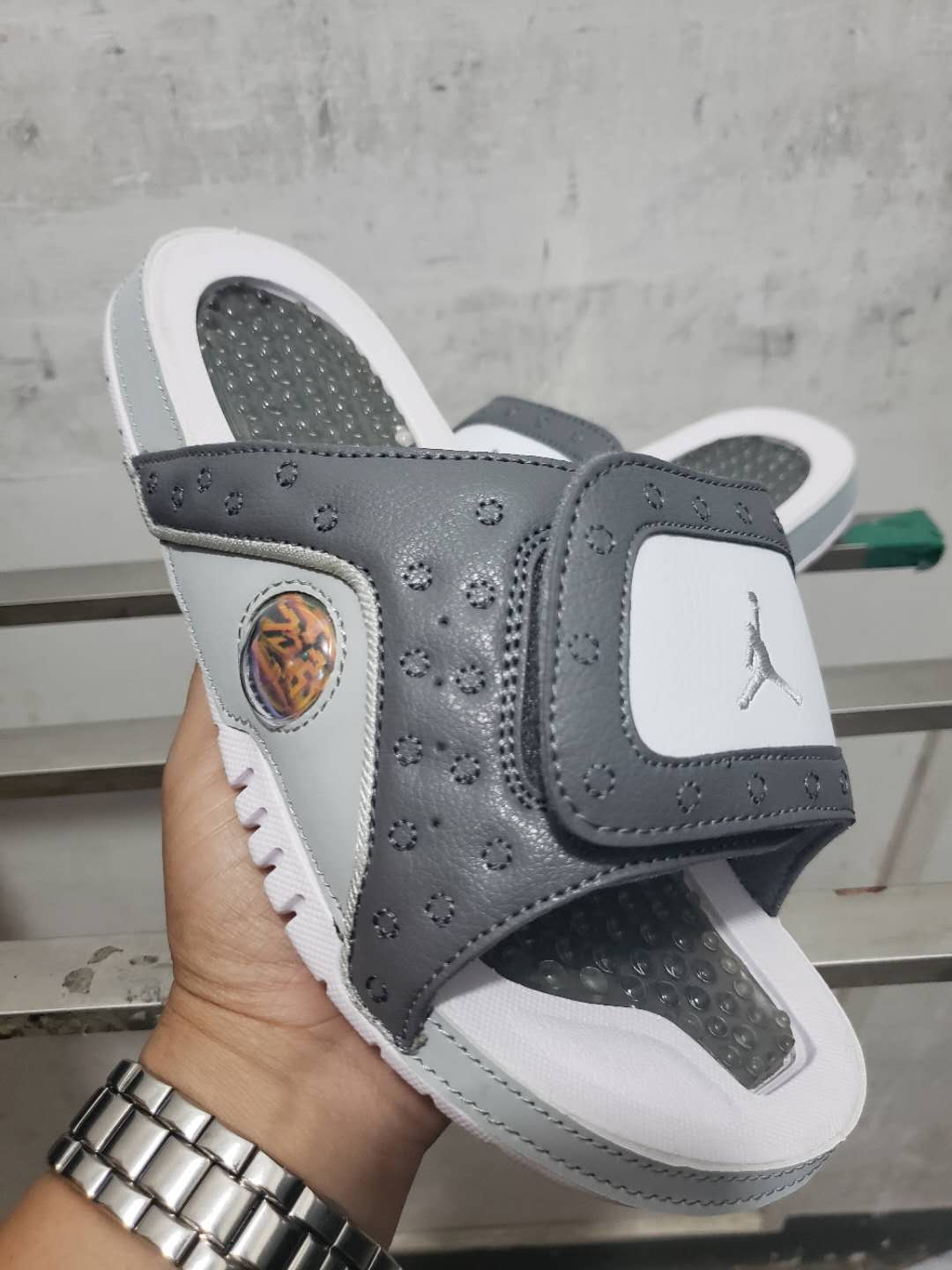 2019 Men Jordan 13 Hydro Slide Wolf Grey