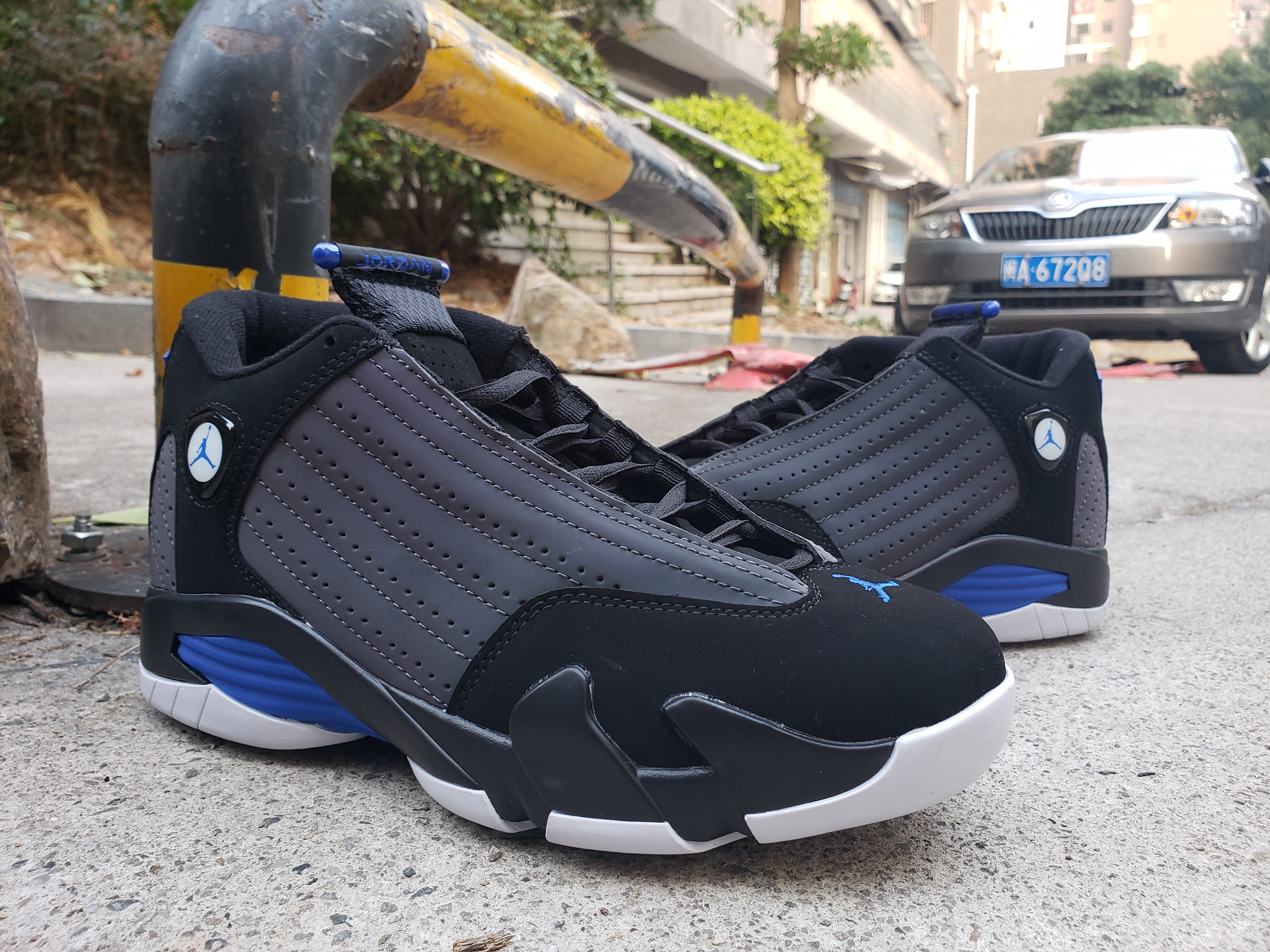 2019 Men Jordan 14 Black Grey Blue White Shoes