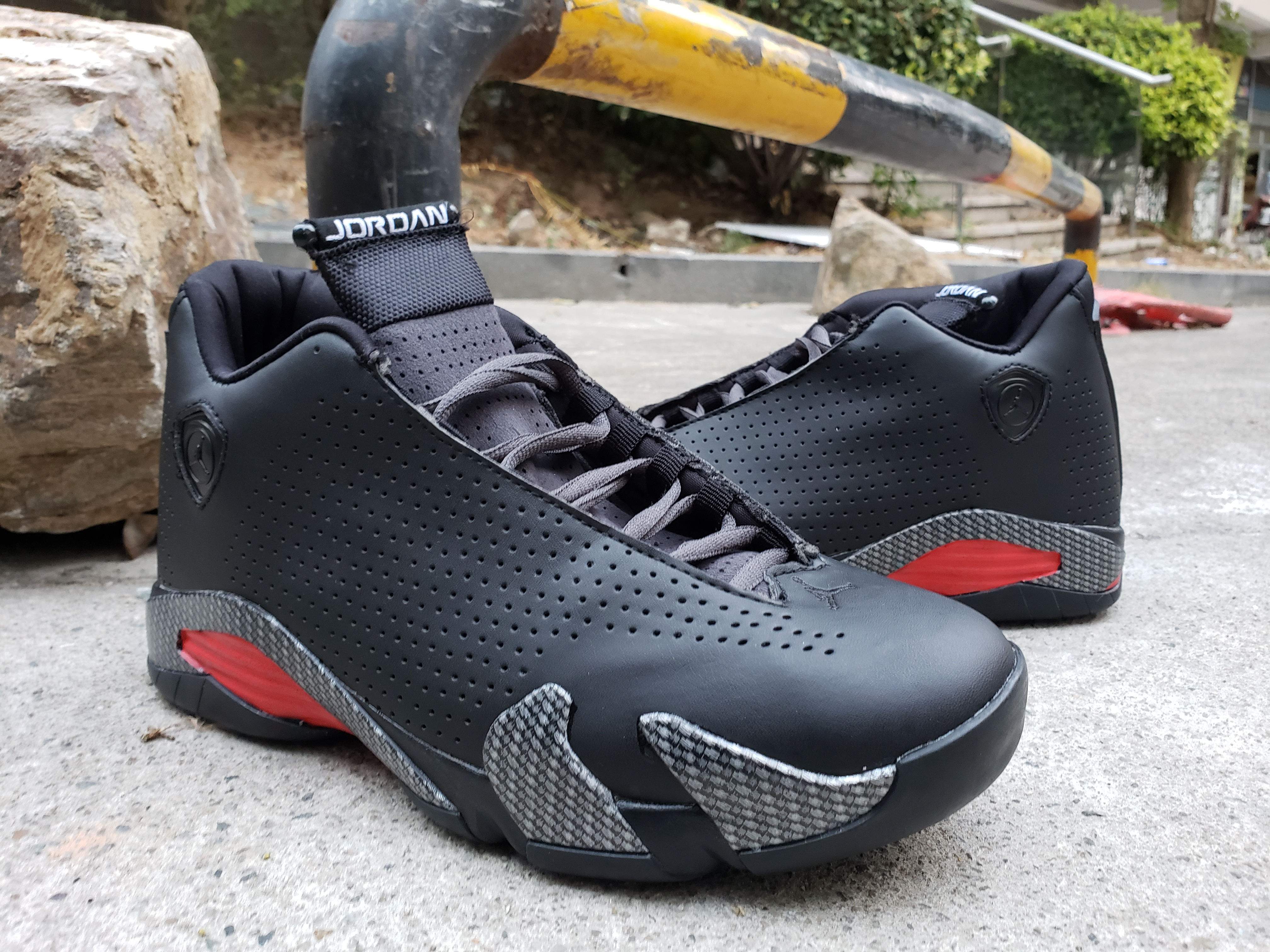 2019 Men Jordan 14 Black Grey Red Shoes