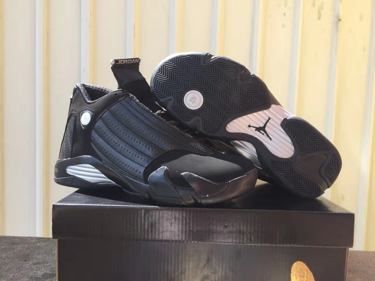 2019 Men Jordan 14 Charity Black Gold Shoes