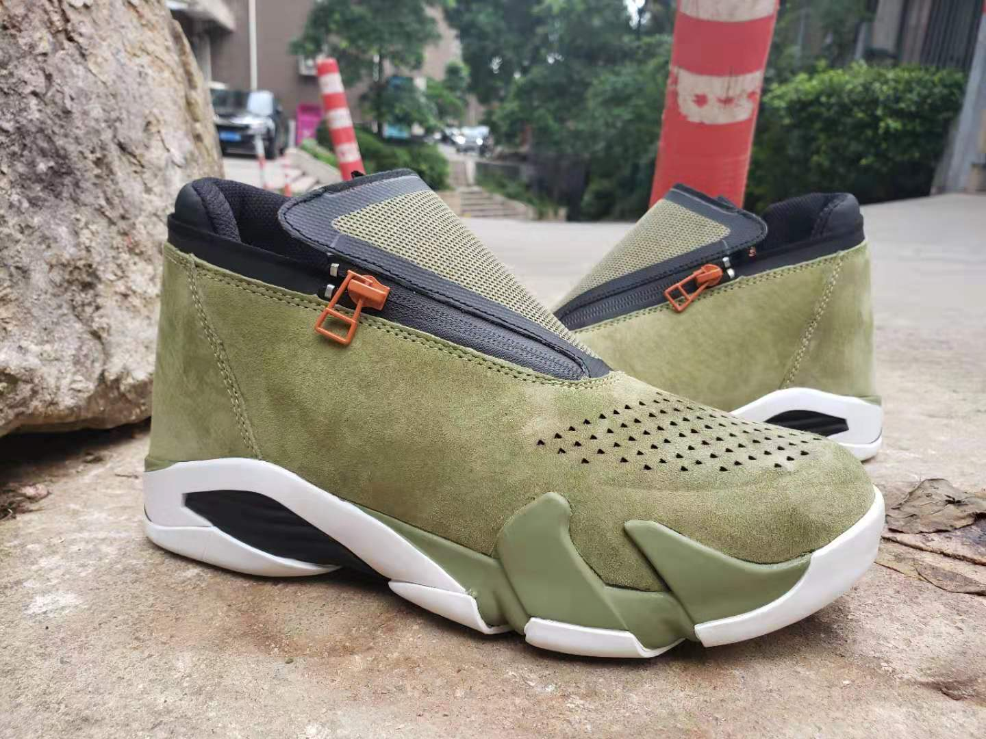 2019 Men Jordan 14 Retro Zipper Army Green Black Shoes