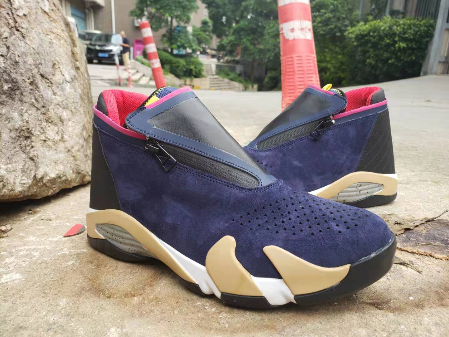 2019 Men Jordan 14 Retro Zipper Navy Blue Brown Red Shoes