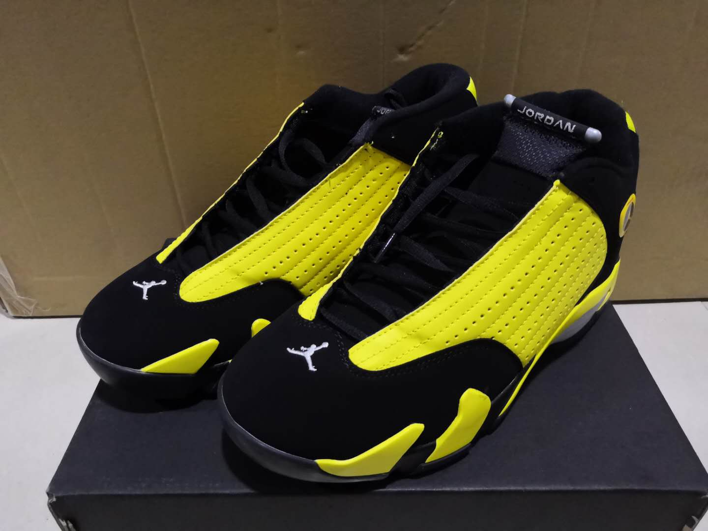 2019 Men Jordan 14 Yellow Black Shoes