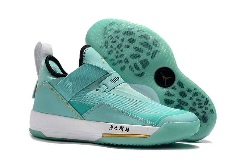2019 Men Jordan 33 Low Jade Blue Gold Shoes