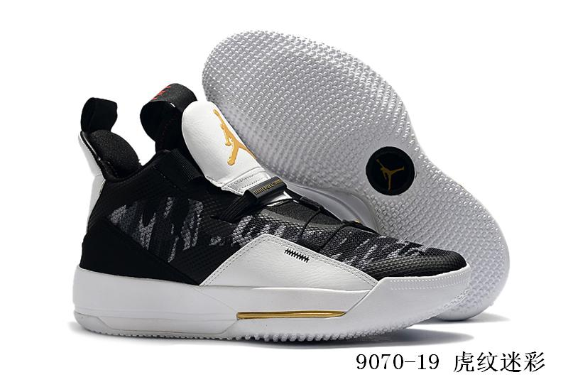 2019 Men Jordan 33 Tiger Black Grey Gold Shoes